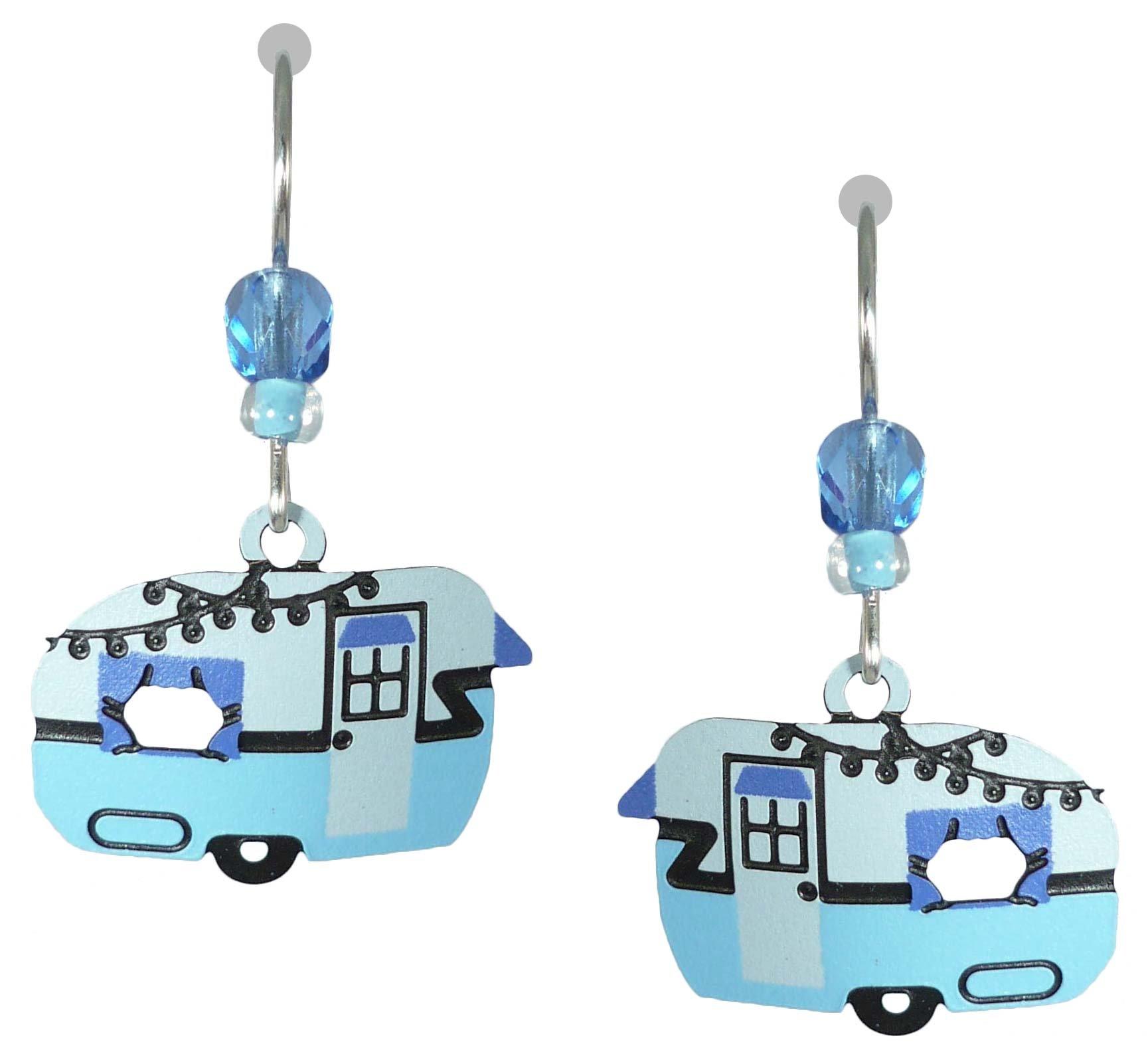 Sienna Sky UV-Printed Vintage Blues Camper Travel Trailer Earrings 2031