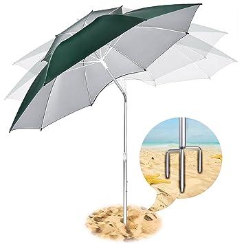Paraguas portátil para playa, paraguas con protección UV, paraguas de refugio con anclaje de