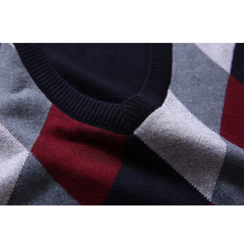 Fange Mens Argyle V-Neck Sweater Vest Woolen Color Block Knit Business Casual factory MSB0018