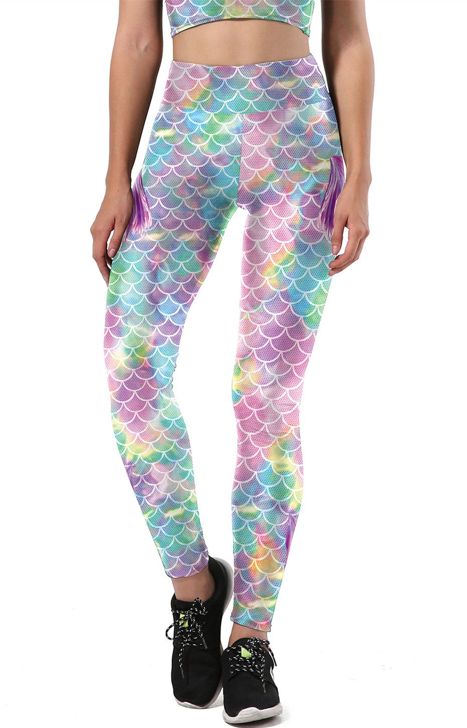 Gludear Women's Shiny Mermaid Fish Scale Printing Full Length Leggings,Pink,S