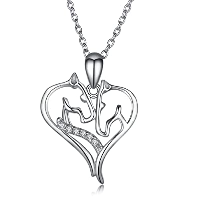 Amazon angel caller 925 sterling silver zirconia heart horse angel caller 925 sterling silver zirconia heart horse head necklace jewelry gift for women girls mozeypictures Choice Image
