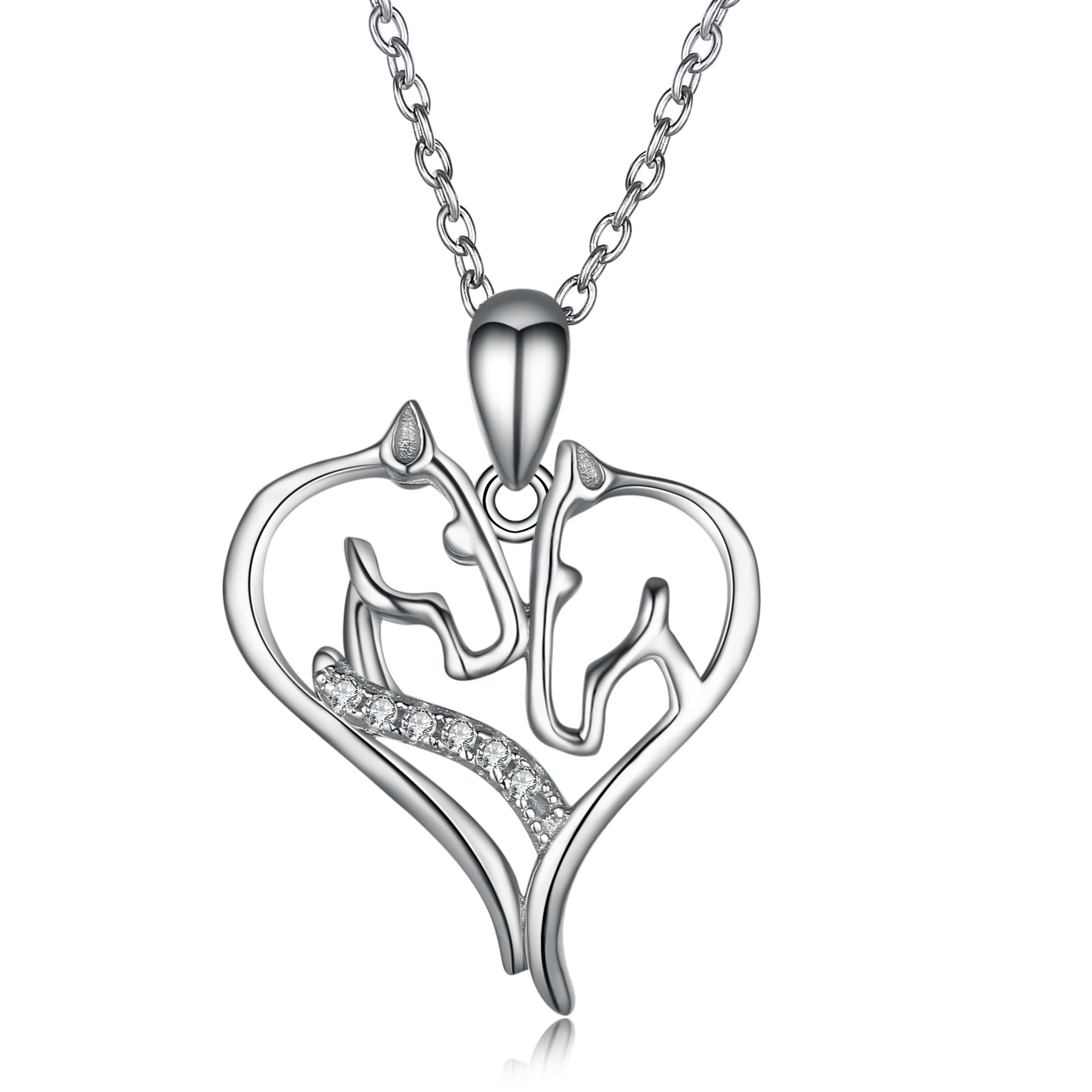 Angel caller Horse Necklace Sterling Silver Cubic Zirconia Horse Head Heart Shape Pendant Necklace for Women Girls, 18''