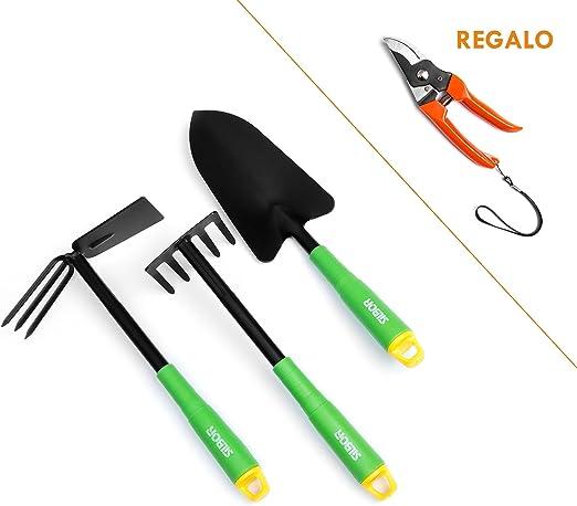 Best Purchase Set de herramientas de jardín | Herramientas de jardinería | Herramientas para jardín | Set juego herramientas de jardín 3 piezas | Tijera de podar de regalo: Amazon.es: Jardín