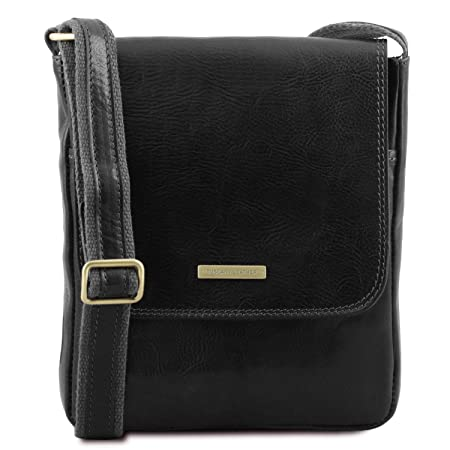 Tuscany Leather John Leather crossbody bag for men with front zip Black   Amazon.co.uk  Luggage f86f065723d22