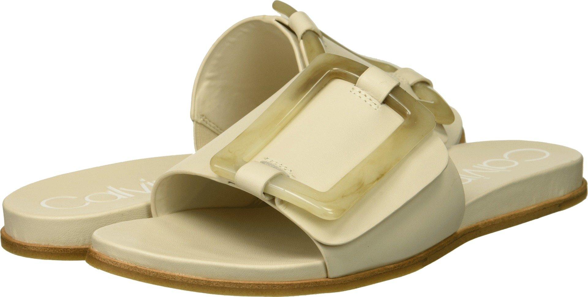 Calvin Klein Women's Patreece Slide Sandal, Soft White, 5.5 Medium US