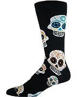 Socksmith Men's King Size Big Muertos Skull Socks (Black, One Size Fits Sock Size 13-16)