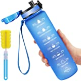 Favofit Water Bottle with Time Marker, 32 oz Motivational Water Bottle with Strainer & Cleaning Brush, Reusable & BPA Free Tr