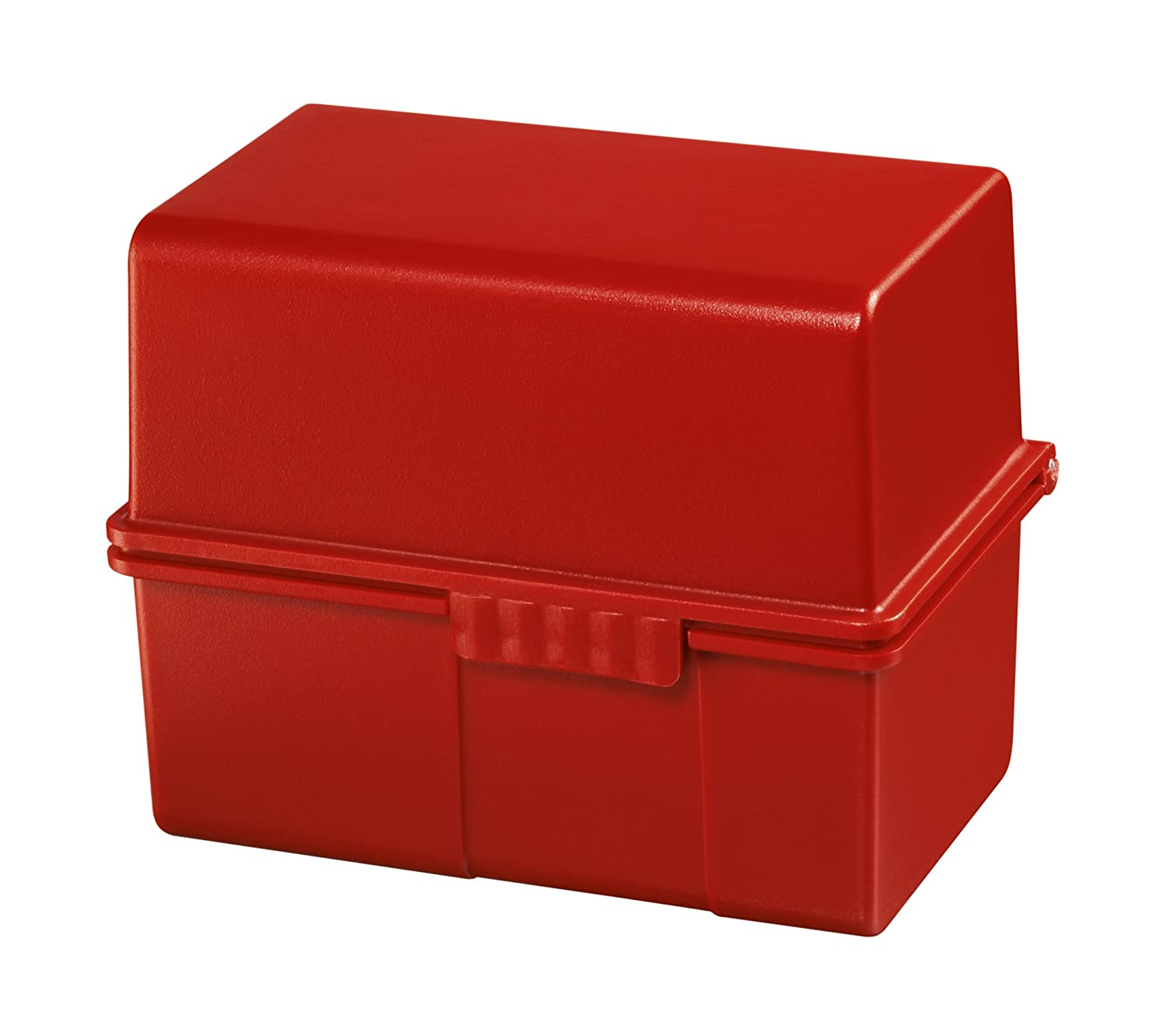 Han 978-17 Card Index Box A8 with Index and 100 Cards Plastic Red