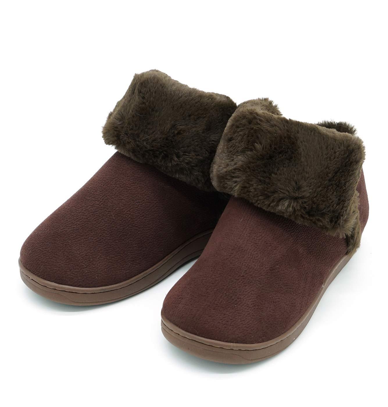 Baviue Men's Cool Fuzzy Anti-Slip Winter Outdoor Bootie Slippers Coffee 9-9.5 B(M) US