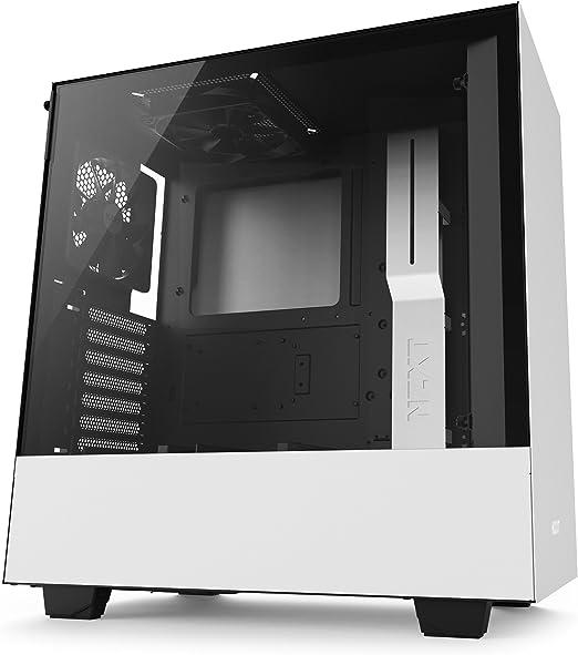 NZXT H500 – Caja PC Gaming compacta de tamaño mediano ATX – Panel de vidrio templado - Blanco/Negro - Versión 2018: Amazon.es: Informática