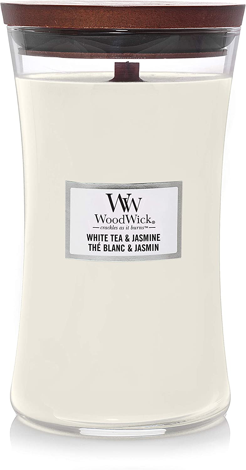 WoodWick Large Hourglass Scented Candle, White Tea & Jasmine