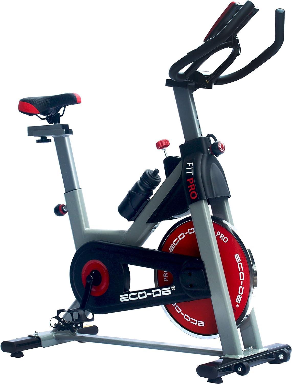 ECO-DE Bicicleta Spinning Fit Pro. Uso semiprofesional con pulsómetro, Pantalla LCD y Resistencia Variable. Estabilizadores. Completamente Regulable.Rueda de inercia de 20kgrs