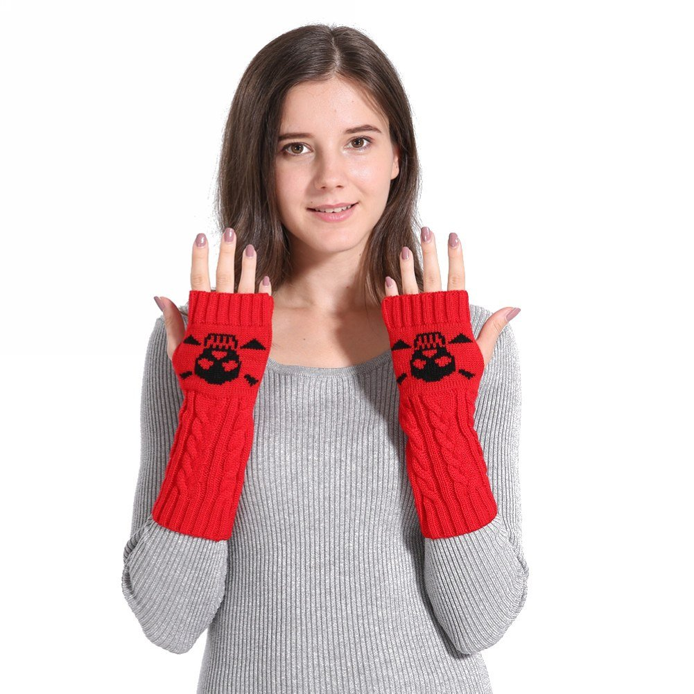 CHUANGLI Skull Women Knit Fingerless Gloves Arm Warmers Cashmere Thumb Hole Long Gloves CHUANGLI-MPA845B