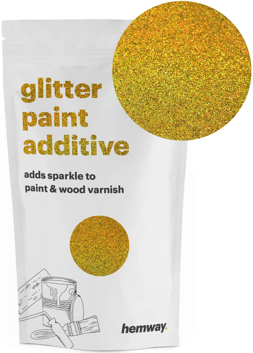 Hemway | Glitter Paint Additive 110g / 3.5oz Acrylic Latex Emulsion Water Based Paints Interior/Exterior Wall, Ceiling, Wood, Metal, Varnish, Dead Flat, Matte (Gold Holographic)
