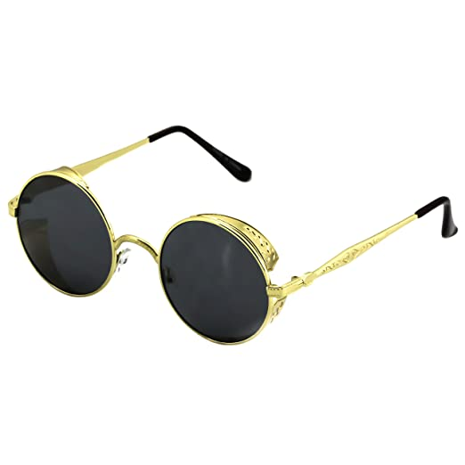 3e027cbc34 Elite Steampunk Retro Gothic Vintage Hippie Colored Metal Round Circle  Frame Sunglasses Colored Lens (Gold