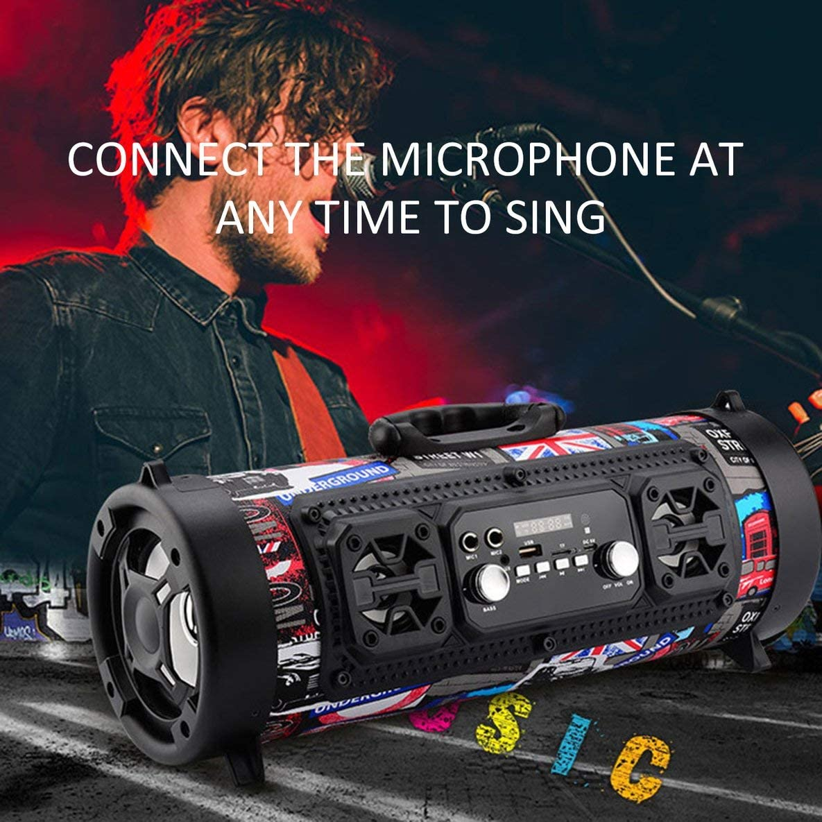 Noradtjcca Outdoor Portable Mobile Powerful Wireless HiFi Stereo BT Speaker Soundbox for PC Phone Music Equipment