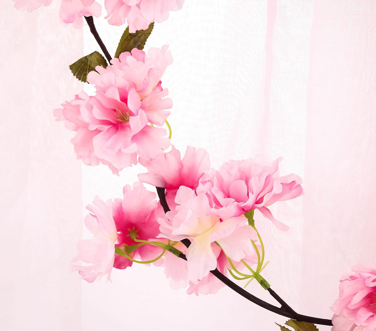 Charmly 2 Pcs Artificial Cherry Blossom Vine Faux Sakura Garland Oriental Cherry Wreath Hanging Plants Artificial Flowers Home Garden Yard Fence Party Wedding Decor Each 5.8 FT Pink