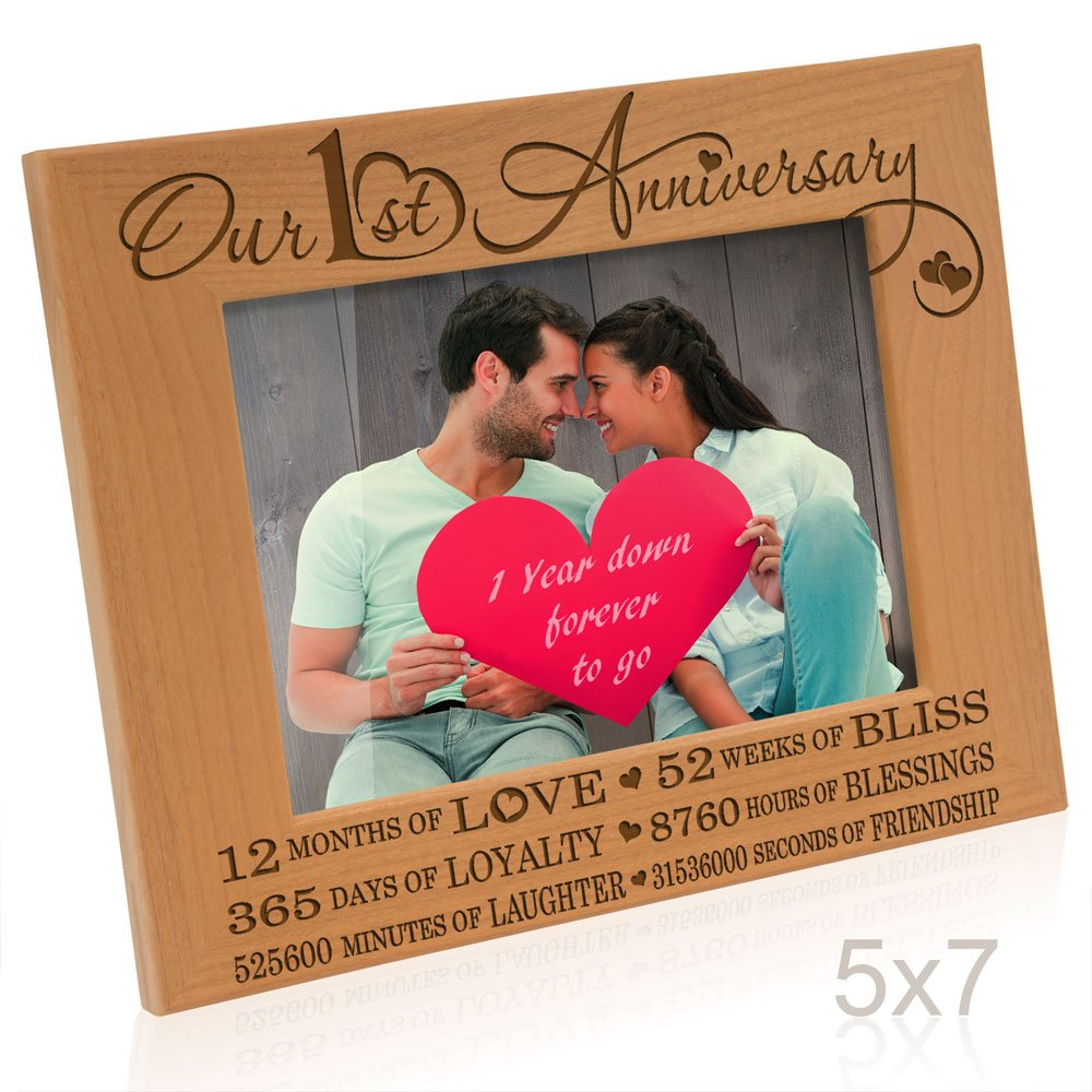 Kate Posh - Our 1st Anniversary Picture Frame - 12 Months Engraved Natural Wood Photo Frame - First (1st) Anniversary Gifts, Paper Anniversary Gifts, 1 Year as Husband and Wife (5x7-Horizontal)