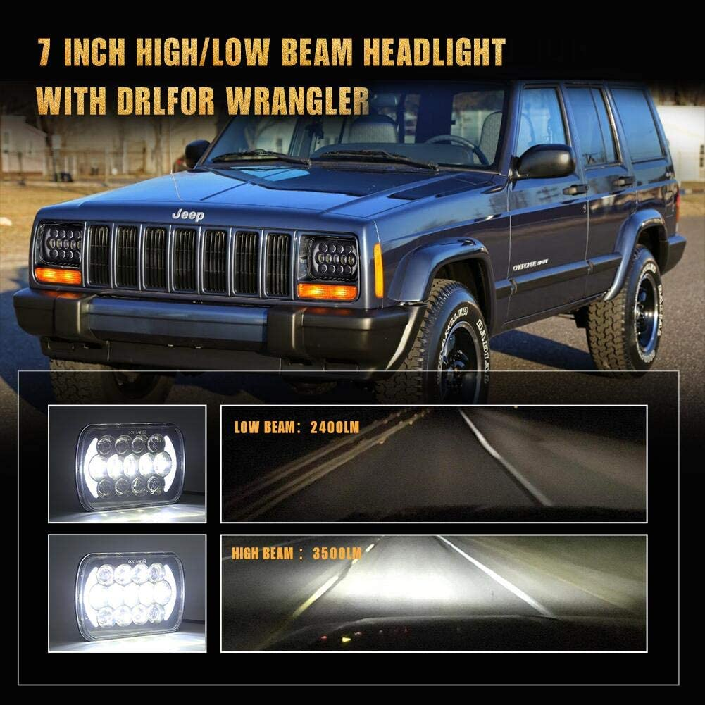 2Pcs Black SUP-LIGHT 5x7 7x6 Inch LED Rectangle Headlights compatible with H6054 H5054 H6054LL 69822 6052 6053 headlamp for Jeep Wrangler YJ Cherokee XJ with High//Low//DRL Projector Lights