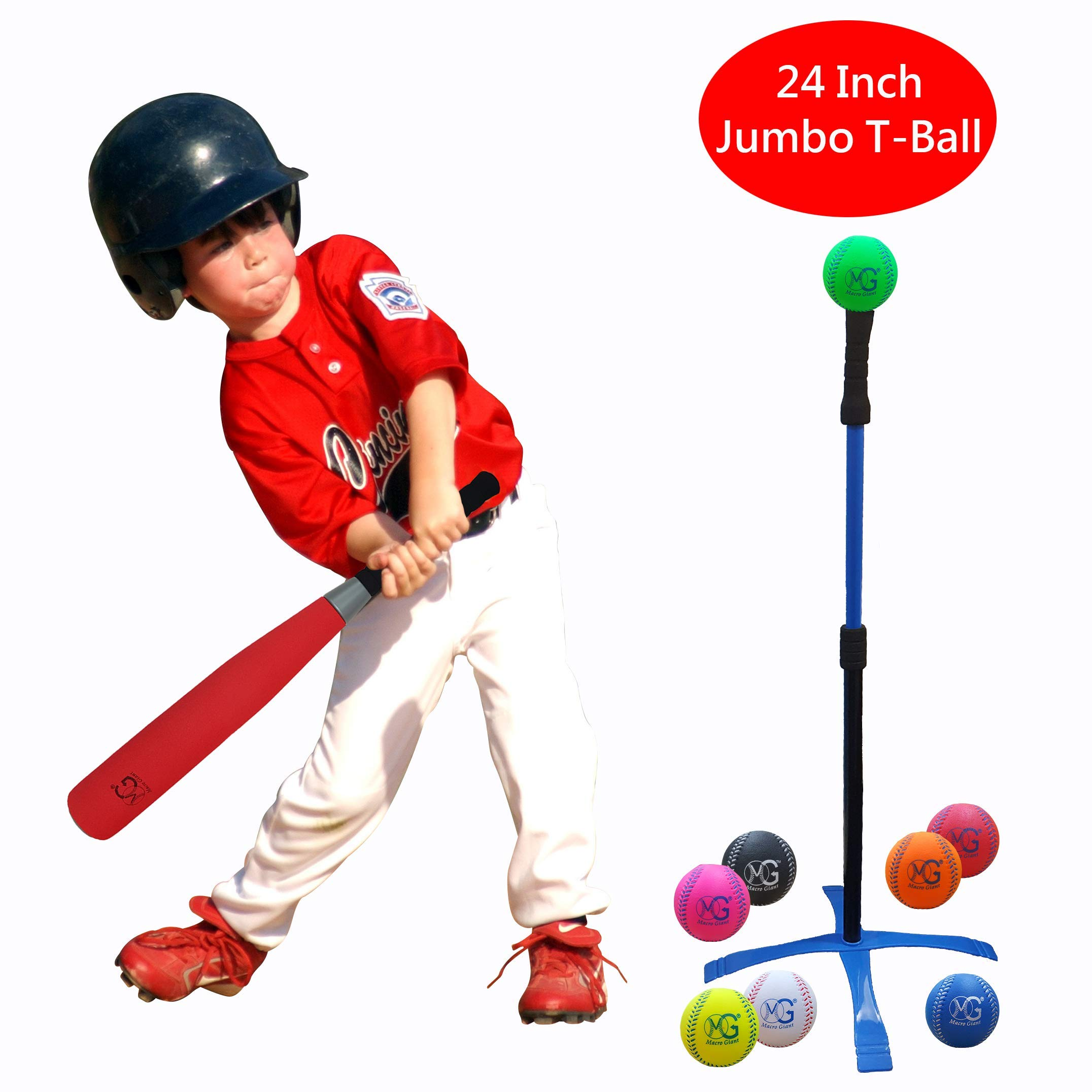 Macro Giant 24 Inch Jumbo T Ball, Tee Ball, T-Ball Set, 1 Red Jumbo Foam Bat, 8 Foam Baseballs, Assorted Color, Training Practice, Youth Batting Trainer, School Playground, Kid Toy by MG MACRO GIANT