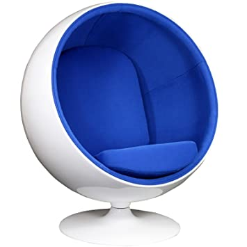amazon com modway eero aarnio style ball chair in blue kitchen