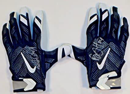 65289710958 Image Unavailable. Image not available for. Color  Ryan Griffin Houston  Texans Autographed 2016 Game Worn Nike Gloves Blue Grey 1