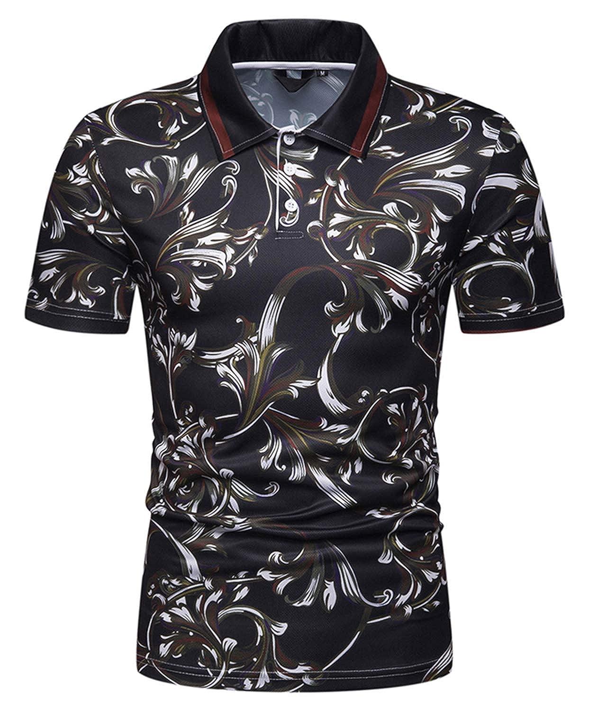 101a1158 WHATLEES Mens Casual Short Sleeve Hawaiian Print Polo Shirt at Amazon Men's  Clothing store: