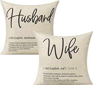 VAKADO Husband Wife Quotes Definition Throw Pillow Covers Romantic Love Wedding Gift Cushion Cases for Lover Couple Home Decor for Patio Couch Sofa Office Furniture,18x18 Inch Set of 2