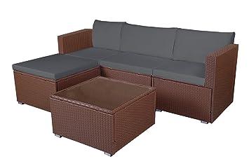 Amazonde Mcombo 5tlg Poly Rattan Gartenmöbel Sitzgarnitur