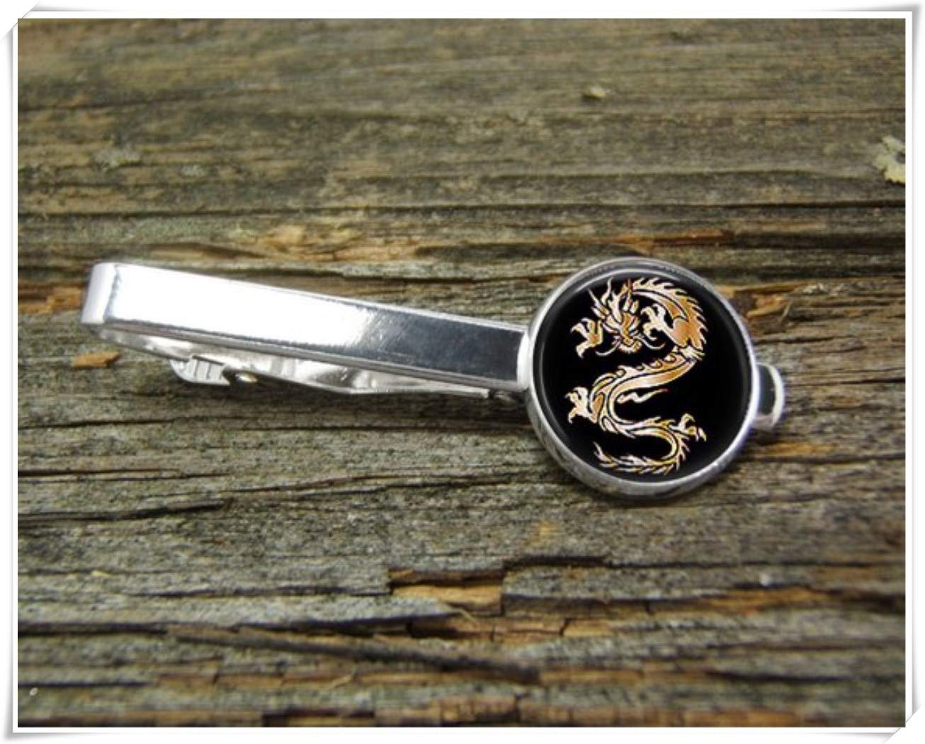 Fashion cool jewelry Dragon Tie Clip,Chinese Dragon Tie Clip,Man Gift,Dome Glass Ornaments, Pure Hand-Made