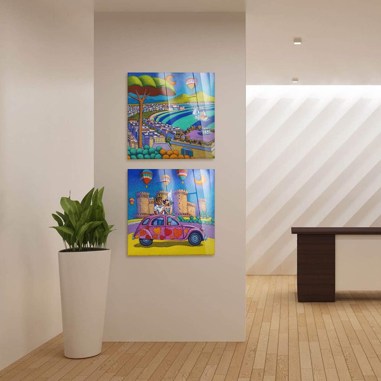 Pronto da Appendere Vari Formati 50x50 cm Stampa su su Vetro Acrilico plexiglass Scalinata Mare Calisti Stefano Quadro Giallobus