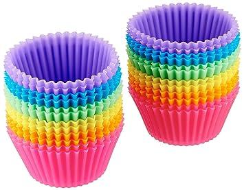 Wa 10 pcs Taza de Muffin de Silicona Ronda 7cm Pastel Molde de Pastel Reutilizable Para Hornear Cremas de Helados: Amazon.es: Hogar
