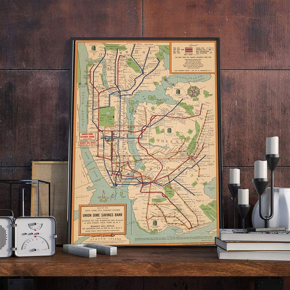 Fashion Canvas Painting Vintage Poster Wall Art Subway Maps Canvas Painting New York City Posters and Prints Style Wall Pictures for Living Room 60x90cm