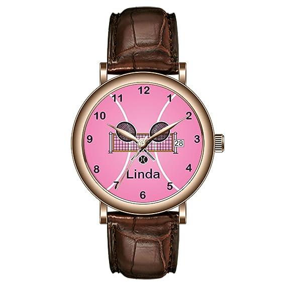 aimashi personalizado hombres reloj impermeable de moda del Golden watch-pink tenis DIY nombre muñeca relojes: Amazon.es: Relojes