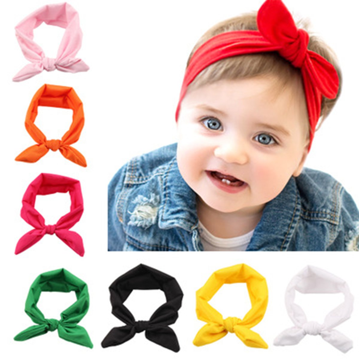 Pink ZOONAI Baby Girl Toddler Bow Turban Headband Newborn Head Wrap Knotted Rabbit Headwear