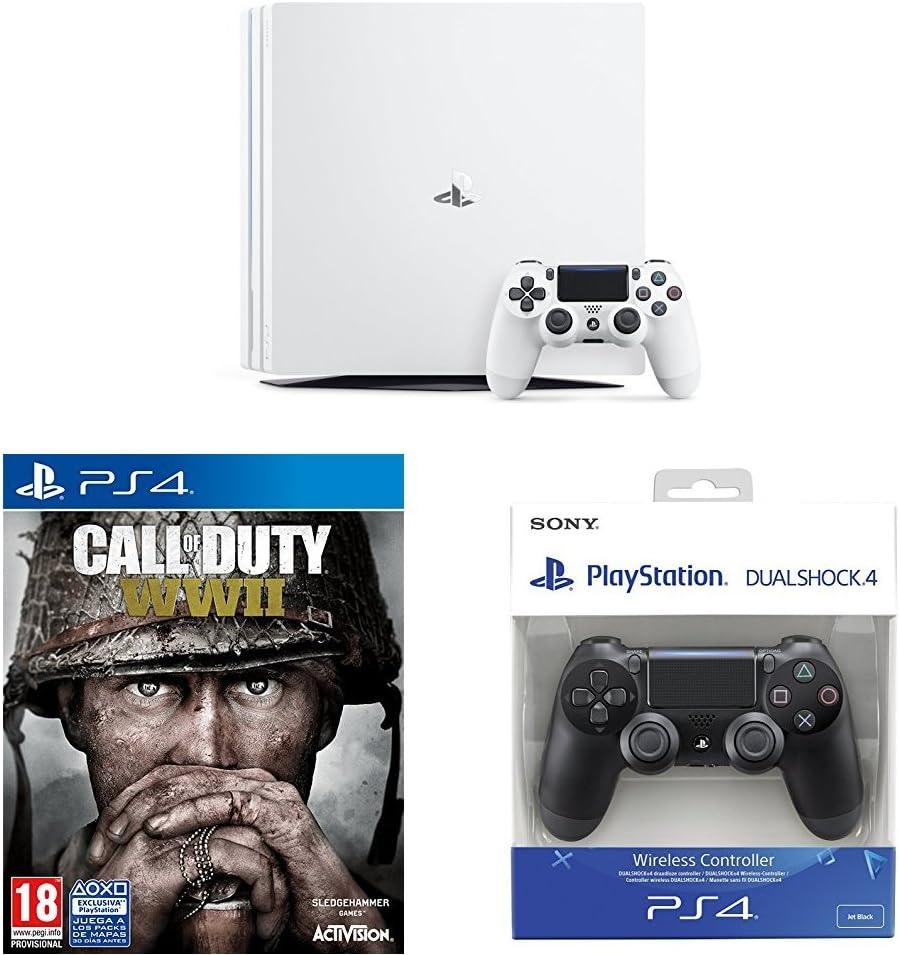 PlayStation 4 Pro (PS4) - Consola, Color Blanco + COD WWII + Dualshock 4 Mando Inalámbrico, Color Negro V2: Amazon.es: Videojuegos