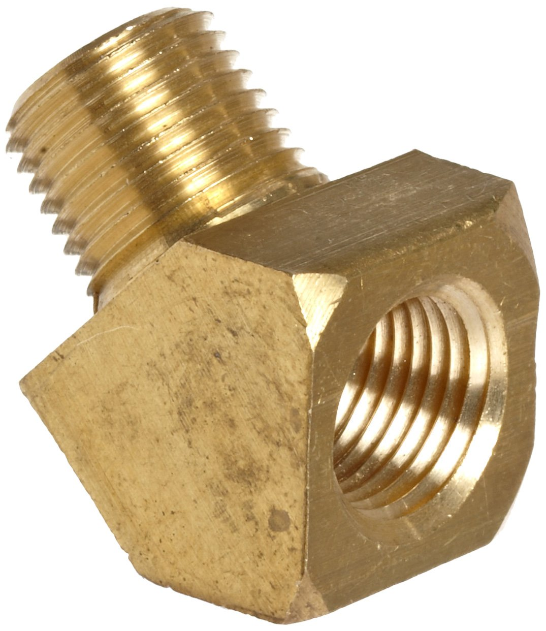 """Anderson Metals Brass Pipe Fitting, 45 Degree Barstock Street Elbow, 1/2"""" Female Pipe x 1/2"""" Male Pipe"""