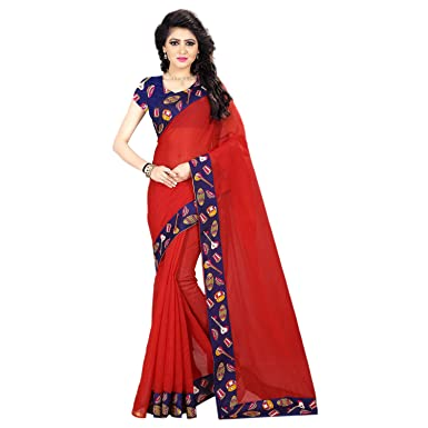 7eebe7122fa714 Areum Women s Chanderi Cotton Red Plain Saree With Printed Border(30703)   Amazon.in  Clothing   Accessories