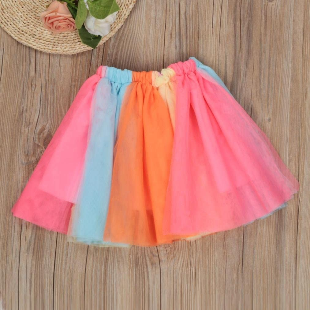 Rucan 1-5T Toddler Baby Girls Birthday Outfit Set Embroidery Shirt Rainbow Tutu Skirt