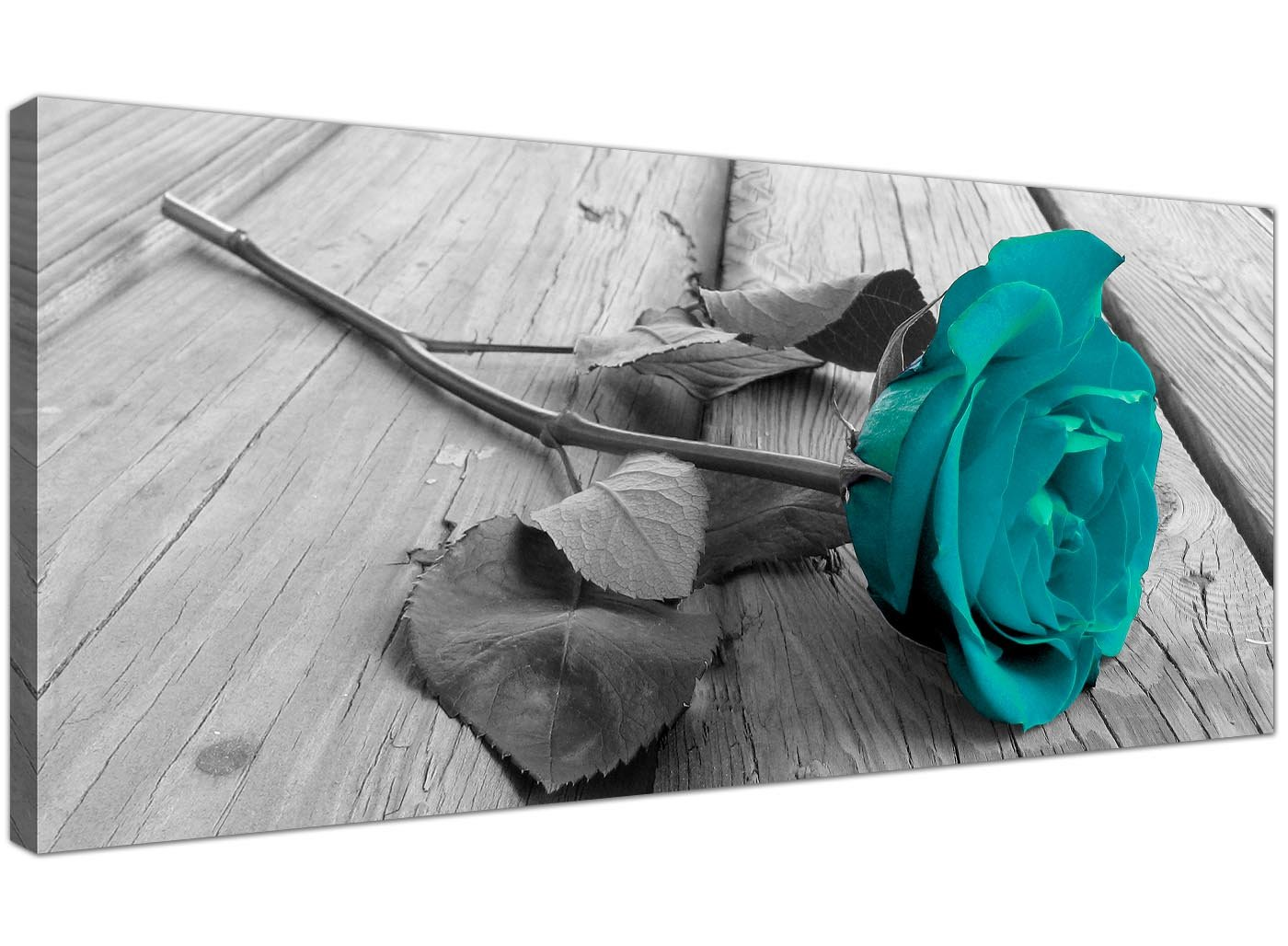 Modern Black And White Canvas Wall Art Of A Teal Rose Flower   Large Floral  Canvas Pictures   1037   Wallfillers®: Amazon.co.uk: Kitchen U0026 Home