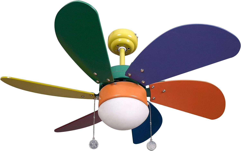 Ventilador de Techo Infantil. 6 Aspas. Colores. 1xE27. 77 cm ...
