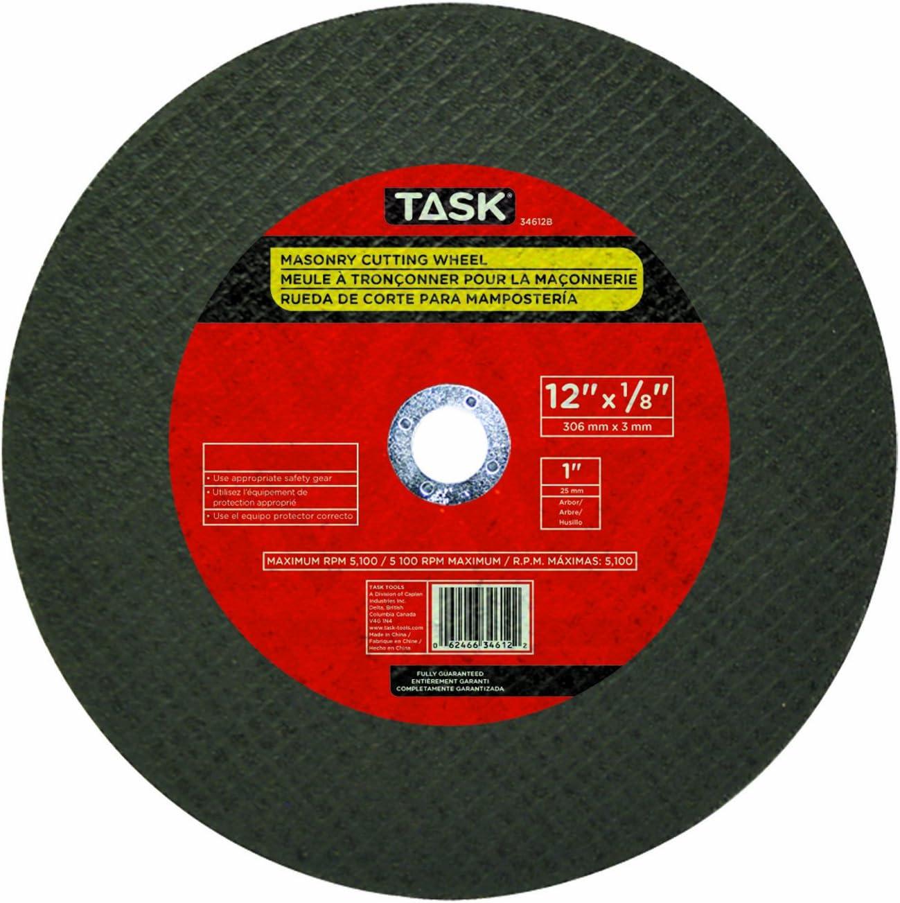 Task Tools 34612B 12-Inch by 1//8-Inch Masonry Cutting Wheel 1-Inch Arbor