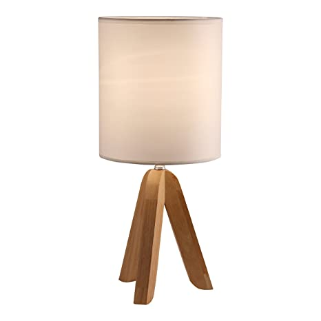 Wonderful Light Accents Tripod Table Lamp With Natural Wooden Tripod Base With Linen  Shade