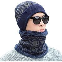 BESPORTBLE 2-en-1 de invierno cuello gorro conjunto más caliente para los adultos hombres mujeres sombrero de los nieve ciclismo serie de calentamiento de punto bufanda de esquí al aire libre abrigo y bufanda del sombrero (azul)