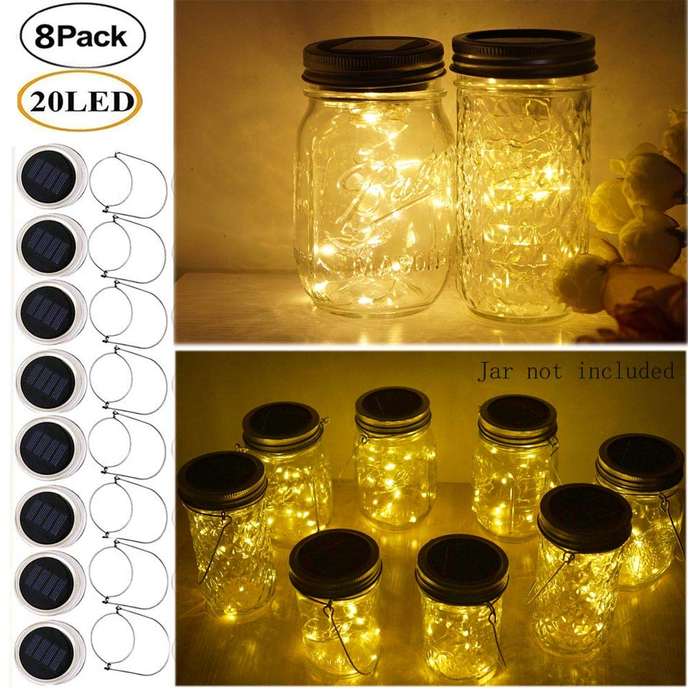 Miaro 8 Pack Mason Jar Lights 20 Led Solar Warm White