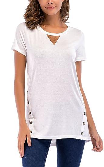 Simple-Fashion Verano Mujer Casual T-Shirt Camisas Blusa con Botón Joven Moda Cuello
