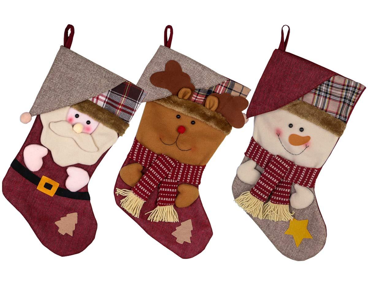 missfiona Christmas Stockings Home Decor 3pcs Set Kids Gift Holding Treet Ornament Holiday Treats