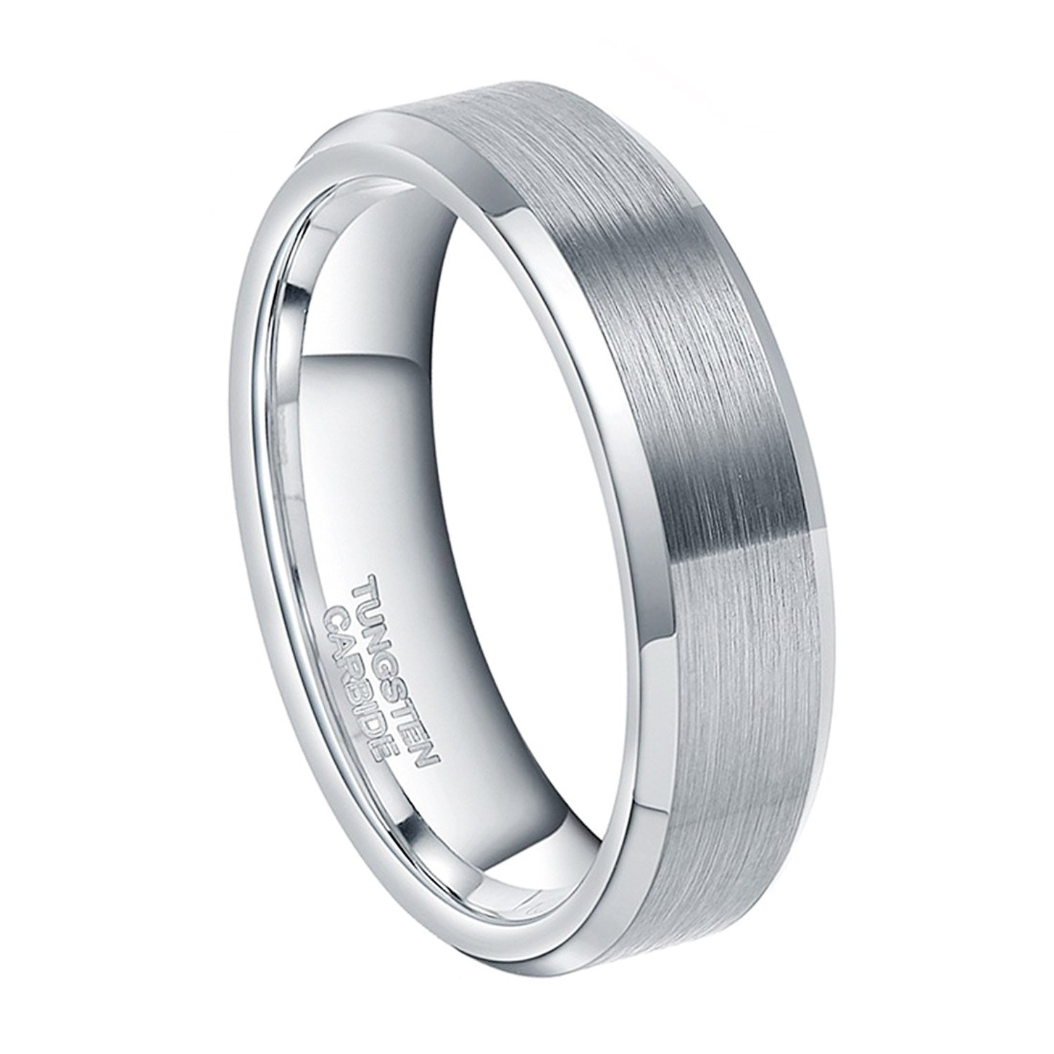4mm 6mm 8mm Silver Tungsten Rings Matte Brushed Beveled Edge Comfort Fit Simple Wedding Band Size 4-15
