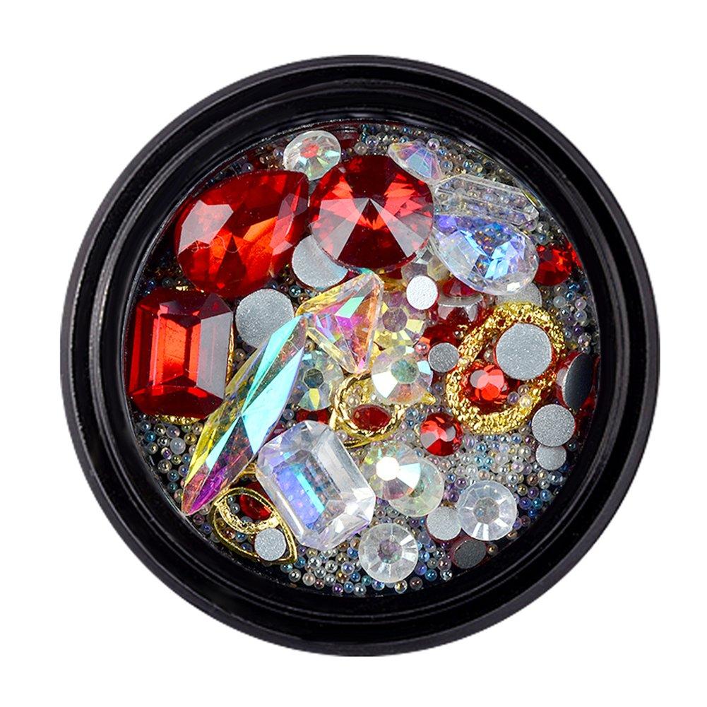 Nail Art Gems And Rhinestones, Bulary Pearl Beads 3D Nail DIY Decoration Dazzling Rhinestone Nail Art Accessories