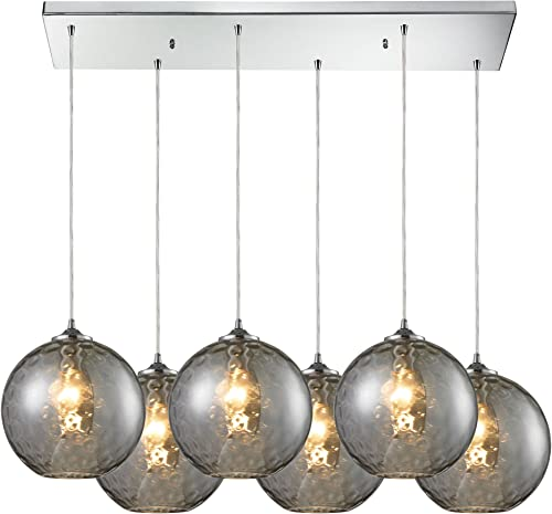 Elk 31380 6RC-SMK 6 by 33-Inch HGTV Home Watersphere 6-Light Pendant with Smoke Glass Shade, Polished Chrome Finish
